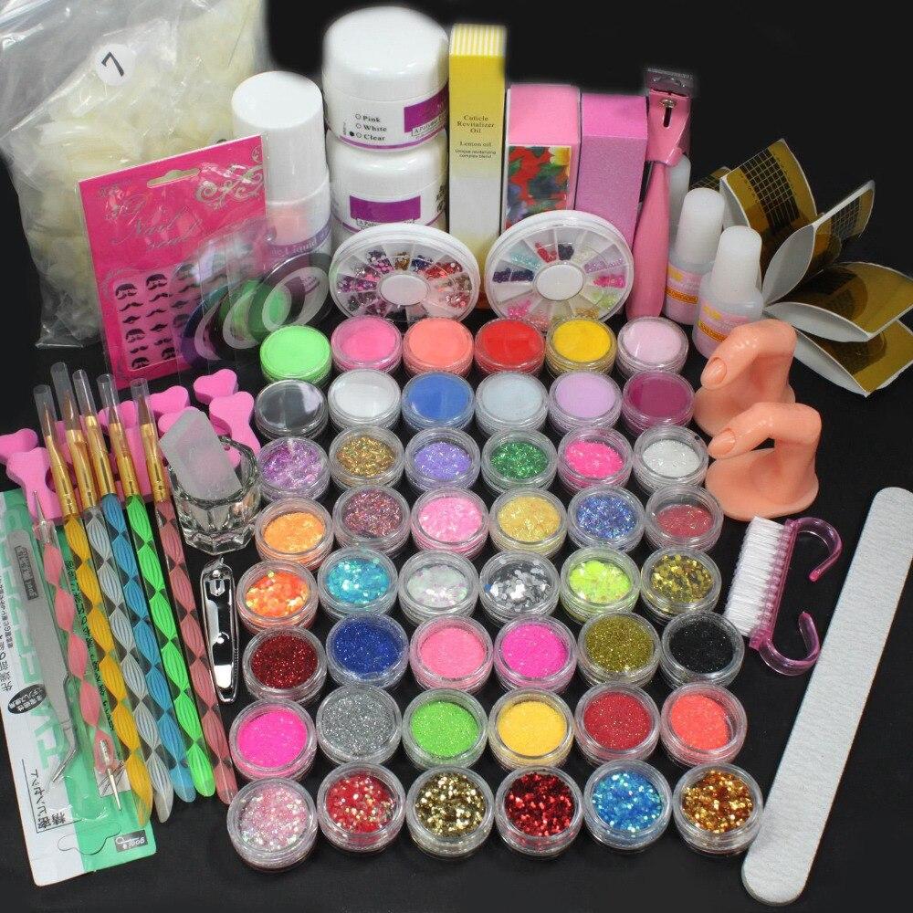 Ensemble d'outils pour ongles en acrylique liquide poudre brosse tampon paillettes bandes bricolage Kit d'outils