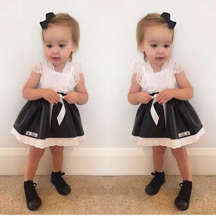 brand style girls suspender skirt fashion sweet tutu baby toddler pu leather skirts black lace tutus children and kids clothes