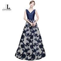 LOVONEY Elegant A Line V Neck Long Evening Dress 2017 Hot Sale Lace Up Formal Evening