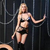 הלבשה תחתונה סקסית חמים לטקס חזייה וסט קצר רצועה מתכווננת טבעת צוואר חלול סקסית הלבשה תחתונה נשית לילה Clubwear קוטב ריקוד בגדים