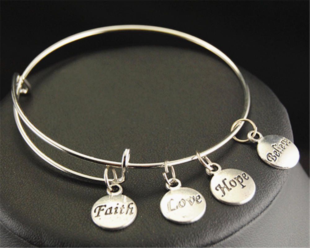 Inspirational Letters Faith Love Hope Believe Round Charm Wire Expandable Bangle Bracelets Jewelry Gifts E151 In Bangles From Accessories On