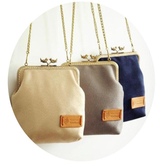 Handmade Bags Solid Women Handbags Vintage Crossbody Bag Suede Messenger Clutch Metal Frame Birds Khaki
