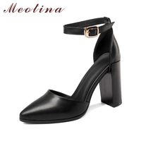 Meotina Genuine Leather Shoes Women Pumps Ankle Strap High Heel Shoes Pointed Toe Two Piece Ladies Dress Pumps Black Size 34-39