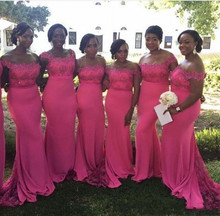 2018 Off Shoulder African Mermaid Maid Of Honor Gowns Sweep Train Formal Party gown Pink Plus Size Lace Bridesmaid Dresses vestido sexy off shoulder lace applique beaded maid of honor party gowns 2018 cheap burgundy mermaid long bridesmaid dresses