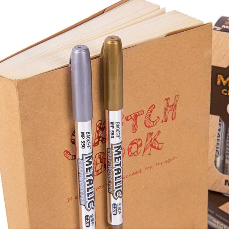 12 قطعة قلم تحديد دائم مجموعة 1.5 مللي متر الذهب الفضة الرسم الملون قلم جاف للرسم ل جلد المعادن ، البلاستيك ، الزجاج ، الكتابة على الجدران أقلام معدنية