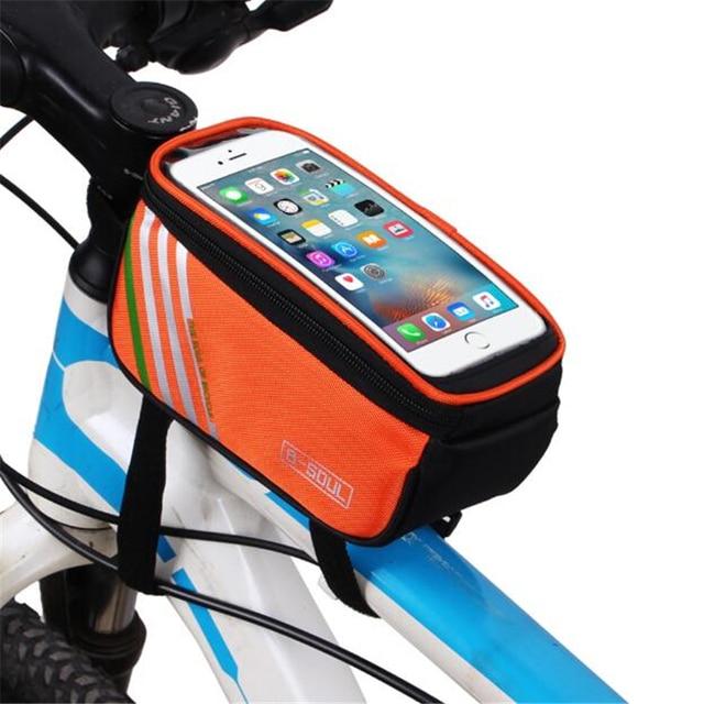 5,5/ pulgadas impermeable pantalla táctil bicicleta bolsas ciclismo bicicleta marco delantero bolsa tubo bolsa teléfono móvil bolsa de almacenamiento