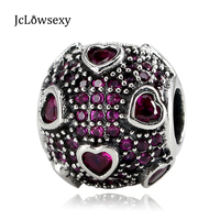 Authentic S925 Sterling Silver Bead Pink Heart CZ Crystal Valentine S Day Charm Fit Original Pandora