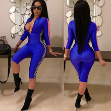 2018 Women Bodycon Jumpsuit Shorts Overalls Sexy Rompers Front Zipper Side Plaid Print Casual Playsuits Club One Piece Outfits zip front check plaid shorts