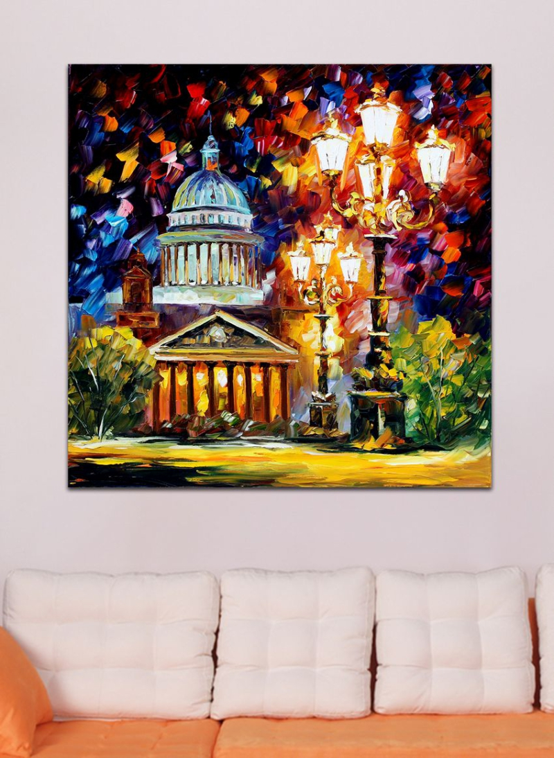 100% Hand-painted Colorful <font><b>Western</b></font> Architecture Palette Knife Painting Lanscape Canvas Wall Art for Living Room <font><b>Home</b></font> <font><b>Decor</b></font>