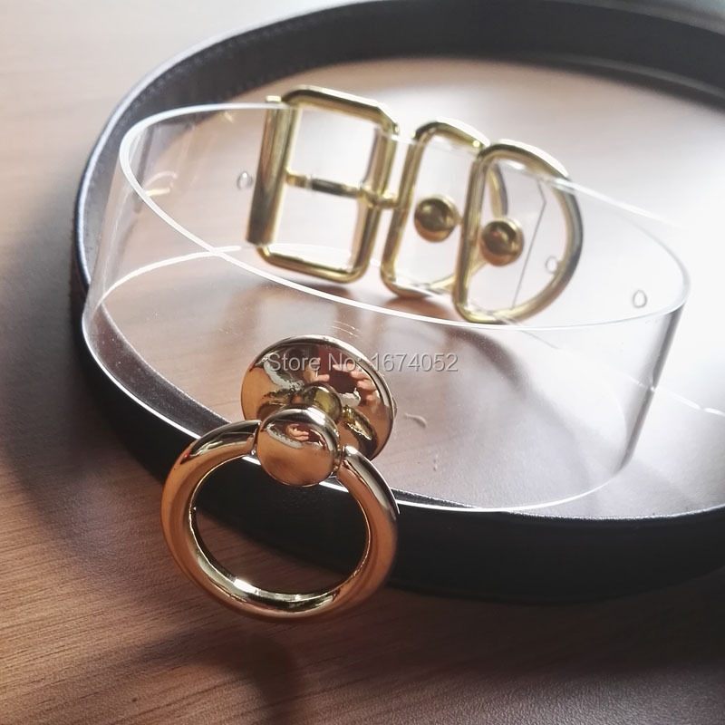 Buy Designed Sexy Unique Choker Silver Gold Metal Hanging O Round BDSM Collar Clear PVC Vinyl Buckle Necklace Sub Fetish Collar