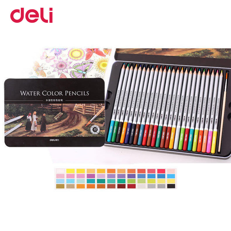 Deli 36 colors a pack water color pencil with box student pencils painting colorful watercolor pen student supplies paintingDeli 36 colors a pack water color pencil with box student pencils painting colorful watercolor pen student supplies painting