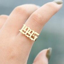 Aço inoxidável anel de nascimento ano casal jóias 1998 1999 2000 2001 2002 2003 2004 2005 2006 ouro rosa número ajustável anel bff