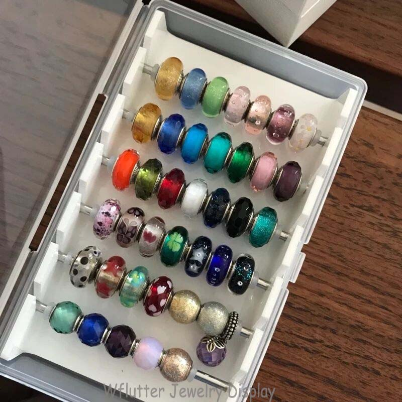 Fashion White Acrylic Diy Finding Case Ring Showing Tray Jewelry Holder Display Bracelet Beads Storage Box Organizer With Cover
