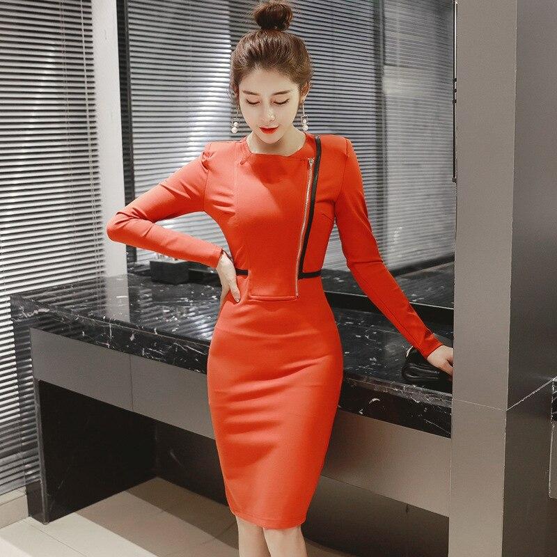 Nouveau femmes robe printemps 2018 bureau noir rouge o-cou à manches longues Bandage moulante robe Zip partie crayon robe Vestidos De Festa - 2
