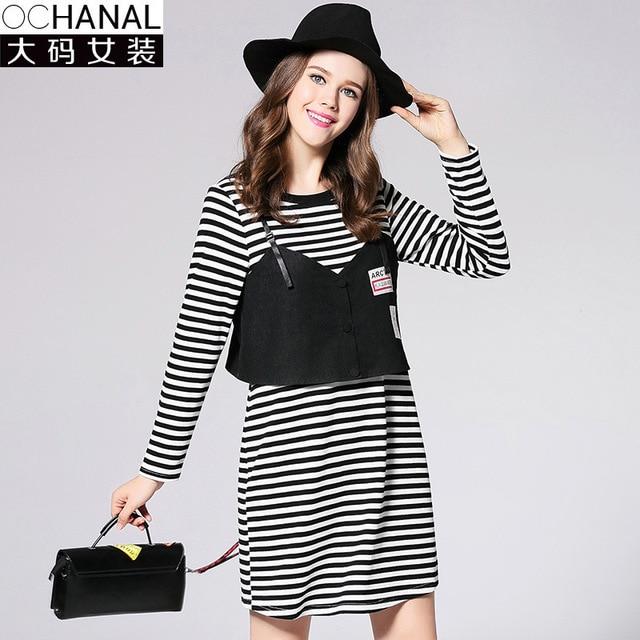 Large Size Women Clothing Autumn New Plus Size Stripe Two Piece