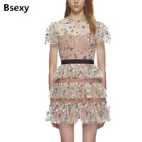 Self Portrait Dress 2018 Women See Though Puff Sleeve Mesh Floral Embroidery Ball Gown Sequin Mini