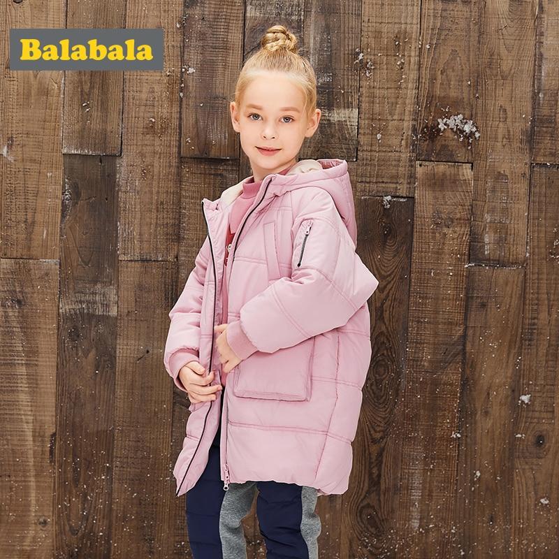 Balabala Children's clothing Girls coat parka 2017 new winter warm cotton outwear long padded jackets fashion park for girls
