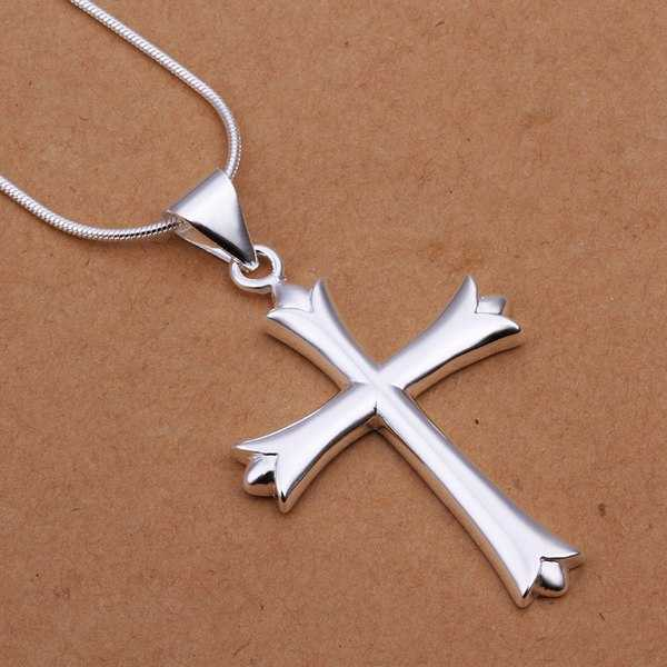 fashion jewelry Necklace pendants Chains, 925 jewelry silver plated necklace Cross necklace ssyl hibp