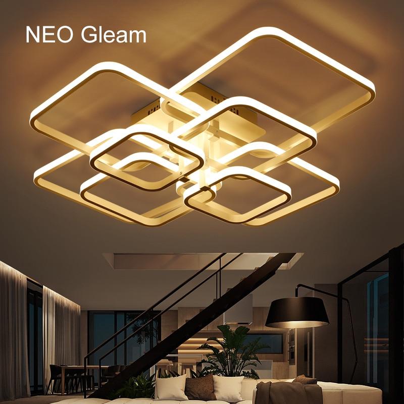 Нео блеском прямоугольник акриловые алюминий современные светодиодные потолочные светильники для гостиной спальня ac85-Сид 265v белый потолочный светильник светильники