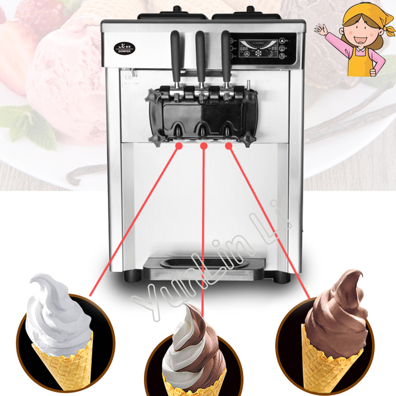 220V Automatic Desktop Ice Cream Maker 2300W Steel Ice Cream Cone Making Machine Commercial Soft Ice Cream Machine CQ-8219 desktop soft ice cream machine stainless steel soft serve maker 220v with digital control ice cream cone 22 25liters h capacity