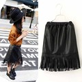 new toddler girls tutu skirt black tassel pu leather skirt cool all match autumn/winter girls clothing