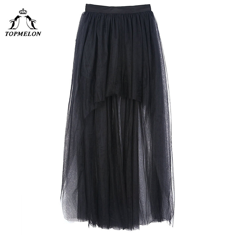 Image 5 - TOPMELON Women's Punk Skirt Female Gothic Tulle Skirt Summer Steampunk Long Skirt Ball Gown Black Mesh Shows Dance Party Skirts-in Skirts from Women's Clothing