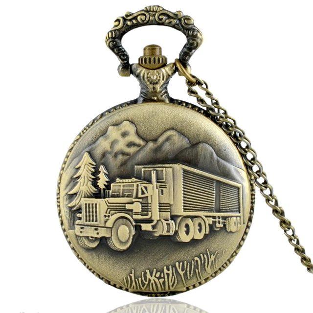 Classic Vintage Bronze Truck Quartz Pocket Watch Vintage Men Women Necklace pend