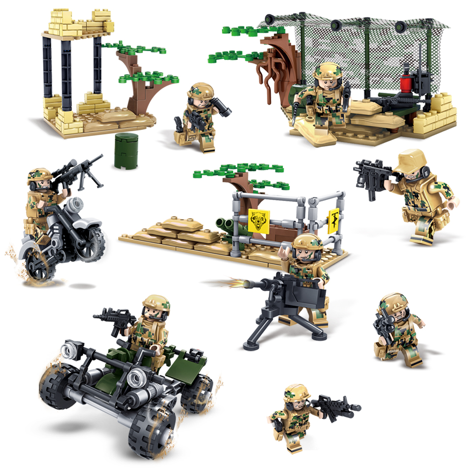 KAZI military field Army Soldiers Compatible Legoed Building blocks Weapon Bricks action figures enlighten toys for children kid kazi 228pcs military ship model building blocks kids toys imitation gun weapon equipment technic designer toys for kid