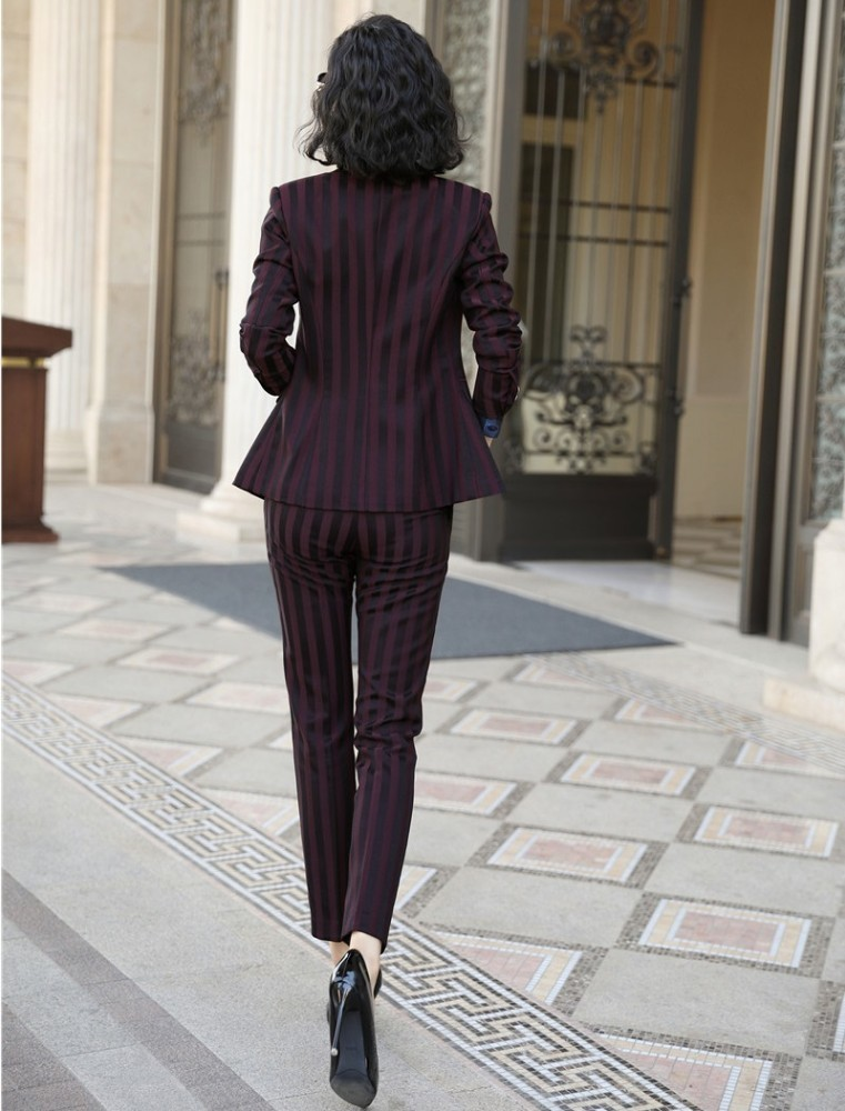 High Quality Fabric Novelty Wine Striped Women Business Suits with Pants and Blazer Coat Autumn Winter Professional Pantsuits 2