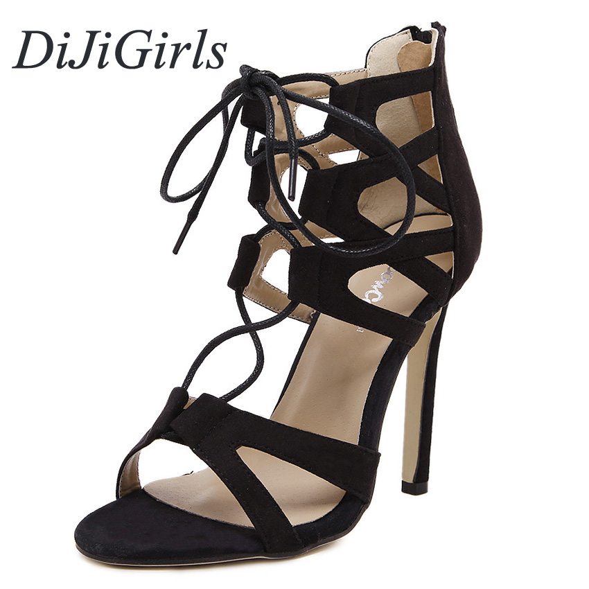 DiJiGirls New women sexy high heels Suede Lace Up Gladiator Pointed toe stiletto sandals ladies celebrity pumps shoes woman new 2015 fashion lace up women pumps summer ladies high heels shoes sandals casual gladiator sandals women shoes ladies