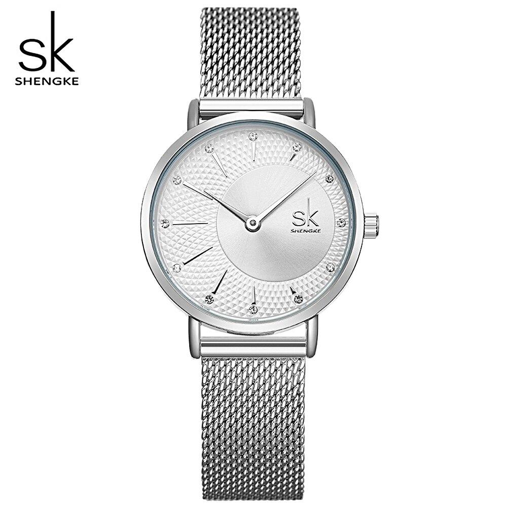 Shengke Women Silver Quartz Watch For Female Top Luxury Brand Quartz Watch Women's Mesh Band Fashion Reloj Mujer 2019 New Clock
