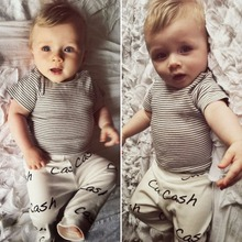 3 18M Newborn Baby Boys Girls Clothes Striped T shirt Top Long Pants Legging 2pcs Outfit