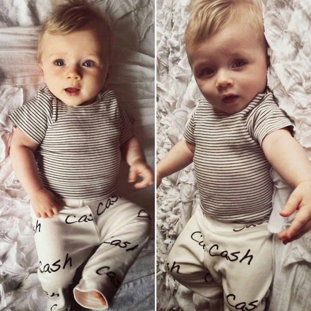 3 18M Newborn Baby Boys Girls Clothes Striped T shirt font b Top b font Long