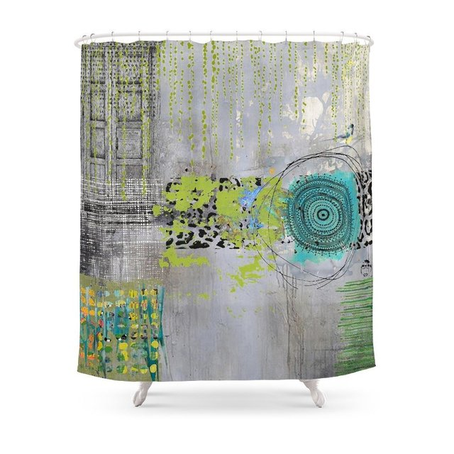 Teal & Lime Round Abstract Art Collage Shower Curtain Polyester ...