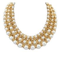 Cuentas de Collar de moda collar Falso Del Collar de La Perla Ahuecado de Oro ChokerPendant PMHM015 # M1