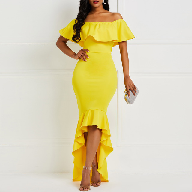 Women Maxi Dress Sexy Off Shoulder Fashion Yellow Ladies Strapless Asymmetric High Low Bodycon Evening Ruffles Party Long Dress