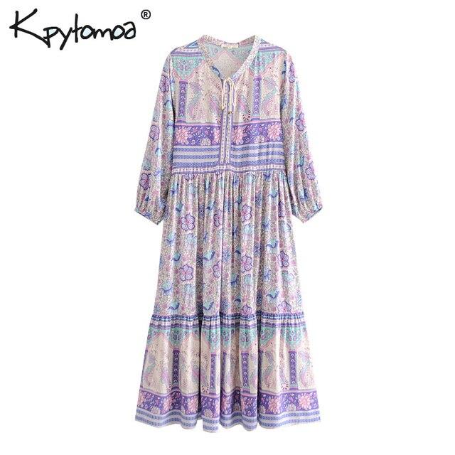 b48cc72ca106 Boho Chic Summer Vintage Ethnic Floral Print Midi Dress Women 2019 Fashion  Long Sleeve Pleated Beach