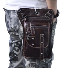 Large capacity wax oil leather Coffee Messenger Bags For men fashion 7 inch punk Casual Travel Bags/Hook Waist Packs