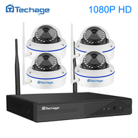 Techage 4CH 1080P Full HD Wireless NVR Wifi CCTV System 2 0MP Indoor Outdoor Dome IP