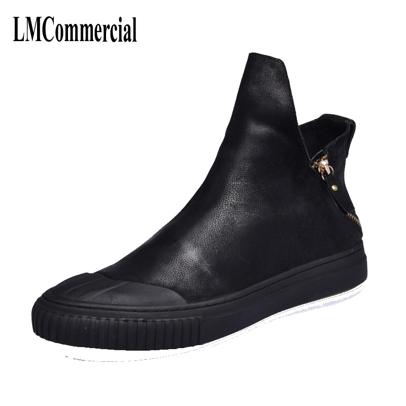 2017 new British retro men zipper leather boots shoes Martin boots for a Korean all-match trend Korean high shoes men breathable men british thick boots retro martin shoes trend men s short boots autumn and winter korean men s boots leather frock shoes