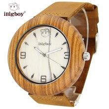 IBigboy Hombres Reloj de Mujer de Marca de Cuarzo de Pulsera de Cuero Relojes de Movimiento Japonés De Madera Madera de la Cebra Reloj Para Los Hombres Reloj de la Correa de Cuero