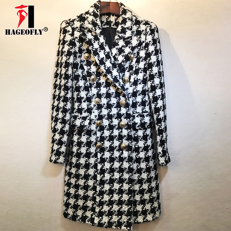 Autumn Winter Plaid Wool Blends New Stylish Runway 2018 Designer Wool Coat  Women Double Breasted Lion e51509541797