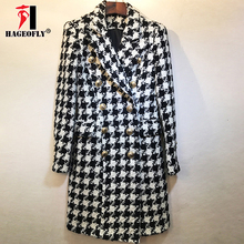 Plaid Woolen Jacken Frauen Herbst Winter Stilvolle Runway Wolle Mantel Zweireiher Lion Tasten Lange Mantel Mantel Frauen Jacken