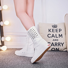 SWYIVY 43 Big Size Sneakers High Top Rivet 2018 Autumn Female Casual Canvas Shoes Increased High Wedge Cavnas Shoes Sneakers