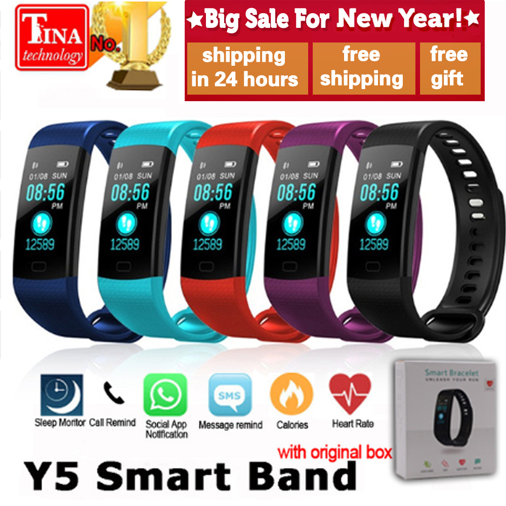 Y5 Faixa de Relógio Inteligente Tela Colorida Pulseira Heart Rate Atividade rastreador De Fitness Pulseira VS Xiaomi Miband Inteligente Eletrônica 2