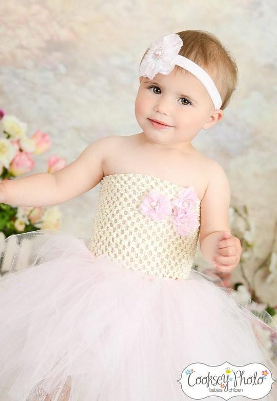 vory and Light Pink Flower Girl Birthday Tutu Dress4