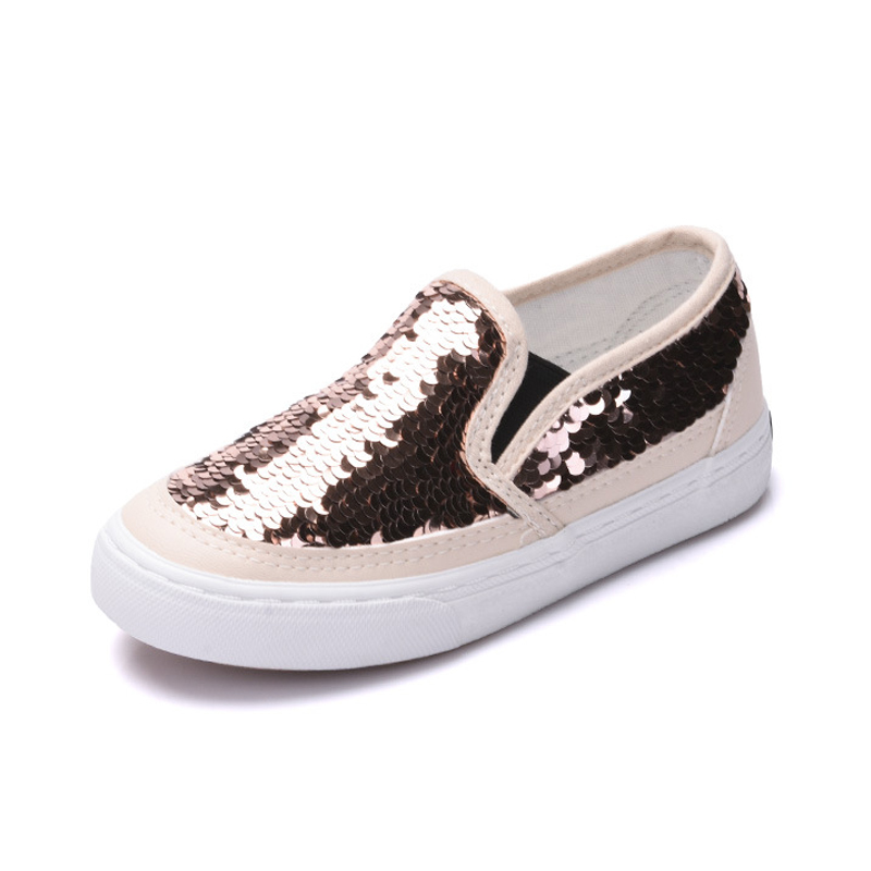 Girls Trainers Glitter Sequins Kids Canvas Shoes Teen Sneakers Toddler Girls Shoes Children Casual Shining Shoes Womens 2019