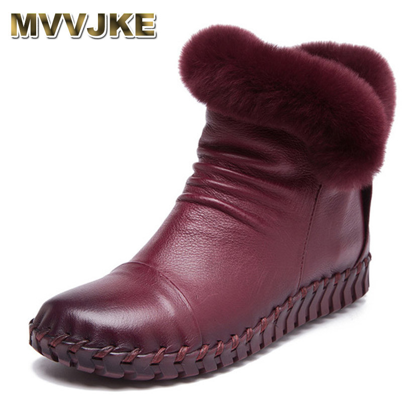 MVVJKE Comfortable Soft Genuine Leather Winter Boots 2018 Fashion Sewing Women Ankle Boots Casual Flat Shoes