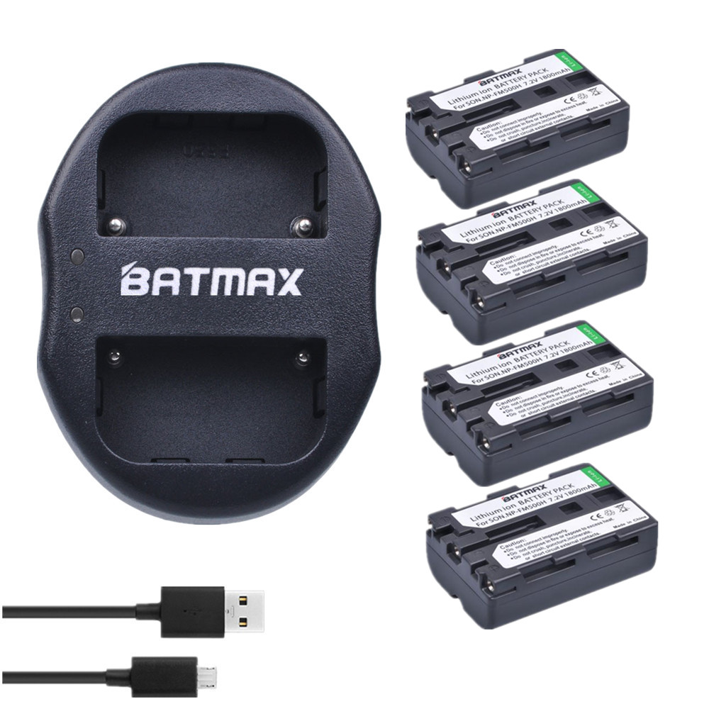 Batmax 4pcs bateria NP-FM500H NPFM500H NP FM500H Rechargeable Battery + Dual USB Battery Charger for Sony A57 A65 A77 A350 A550