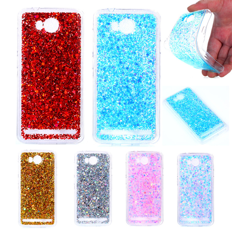 Huawei Lua L21 Y3II Y3 II Colored Shining Case Soft Silicone TPU Frame With Shiny Glitter Back Cover For